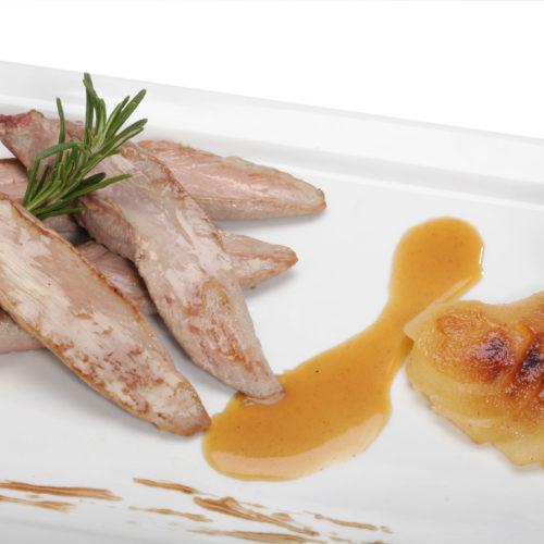 Aiguillettes de canard poire et miel