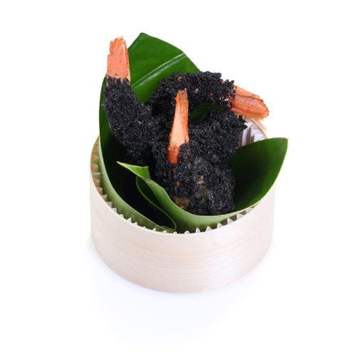 Gambas au charbon végétal
