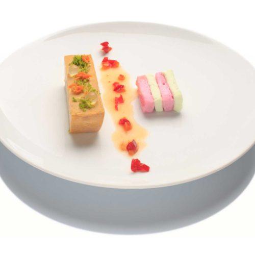 Foies gras pigmenté aux agrumes