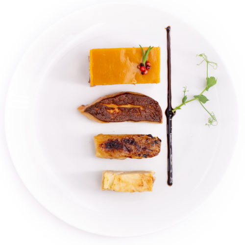 Superposé de caille et foie gras poêlé