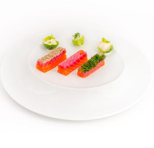 déclinaison de saumon gravlax repas menu prestige noel et fete